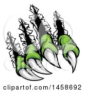 Clipart Of Sharp Green Monster Claws Shredding Through Metal Royalty Free Vector Illustration by AtStockIllustration