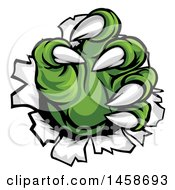 Clipart Of Green Monster Claws Ripping Through Metal With Sharp Talons Royalty Free Vector Illustration