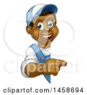 Clipart Of A Cartoon Happy Black Male Worker Pointing Around A Sign Royalty Free Vector Illustration by AtStockIllustration