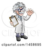 Cartoon Scientist Waving And Holding A Clipboard