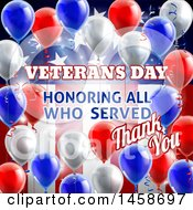 Clipart Of A 3d Border Of Patriotic Balloons Over An American Themed Background With Veterans Day Honoring All Who Served Thank You Text Royalty Free Vector Illustration by AtStockIllustration