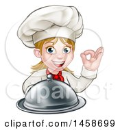 Cartoon Happy White Female Chef Holding A Cloche Platter And Gesturing Ok