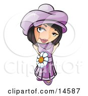 Sweet And Attractive Short Haired Brunette Woman In A Purple Hat And Dress With A White Daisy Belt Clipart Illustration