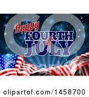 3d American Flag And Fourth Of July Text Over Blue