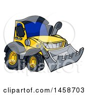 Clipart Of A Cartoon Yellow Bulldozer Royalty Free Vector Illustration