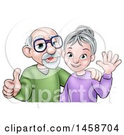 Clipart Of A Cartoon Happy Caucasian Senior Couple Waving And Giving A Thumb Up Royalty Free Vector Illustration