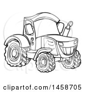 Clipart Of A Black And White Tractor Royalty Free Vector Illustration