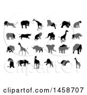 Clipart Of Silhouetted Lions Giraffes Elephants And Rhinos Royalty Free Vector Illustration