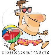 Cartoon Caucasian Man In Summer Gear Running With A Beach Ball