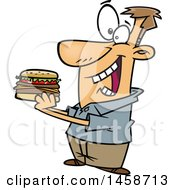 Clipart Of A Cartoon Caucasian Man Eating A Hamburger Royalty Free Vector Illustration