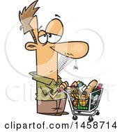 Clipart Of A Cartoon Caucasian Man Covered In Spider Webs Waiting A Long Time To Checkout In A Grocery Store Royalty Free Vector Illustration