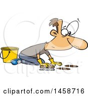 Cartoon Caucasian Man Scrubbing A Floor
