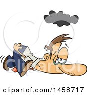 Clipart Of A Cartoon Exhausted Caucasian Business Man Dragging On A Monday Royalty Free Vector Illustration
