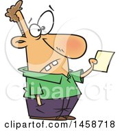 Cartoon Dumb Caucasian Man Holding A Note