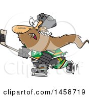 Clipart Of A Cartoon Bearded Caucasian Man Playing Hockey Royalty Free Vector Illustration