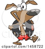 Clipart Of A Cartoon Happy Beach Dog Carrying An Inner Tube Royalty Free Vector Illustration by toonaday