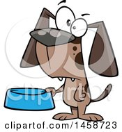 Clipart Of A Cartoon Dog Holding A Food Bowl Royalty Free Vector Illustration