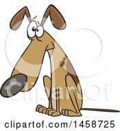 Clipart Of A Cartoon Guilty Dog Sitting Royalty Free Vector Illustration