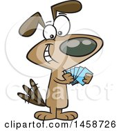 Clipart Of A Cartoon Dog With A Poker Face Playing Cards Royalty Free Vector Illustration by toonaday