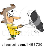 Clipart Of A Cartoon Caucasian Woman Trying To Hold Onto An Umbrella On A Windy Day Royalty Free Vector Illustration by toonaday