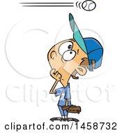 Poster, Art Print Of Cartoon Baseball Player Caucasian Boy Watching A High Ball Go Over His Head