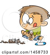 Clipart Of A Cartoon Caucasian Boy Pulling Off His Muddy Shoes Royalty Free Vector Illustration by toonaday