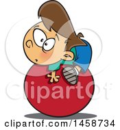 Clipart Of A Cartoon Caucasian Boy On The Ball Royalty Free Vector Illustration by toonaday