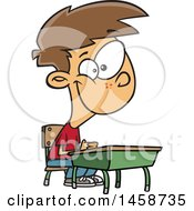 Cartoon Happy Caucasian Boy Sitting At His School Desk