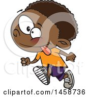Clipart Of A Cartoon Energetic Black Boy Running Royalty Free Vector Illustration by toonaday