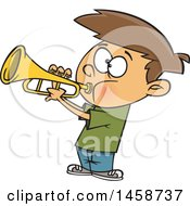 Clipart Of A Cartoon Caucasian Boy Playing A Trumpet Royalty Free Vector Illustration