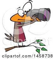 Cartoon Bird Looking Through Binoculars Birdwatching
