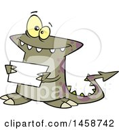 Cartoon Welcoming Monster Holding A Sign
