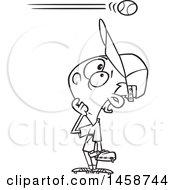 Poster, Art Print Of Cartoon Lineart Baseball Player Boy Watching A High Ball Go Over His Head