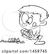 Cartoon Lineart Boy Pulling Off His Muddy Shoes