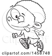 Clipart Of A Cartoon Outline Energetic African American Boy Running Royalty Free Vector Illustration
