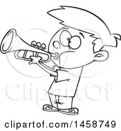 Clipart Of A Cartoon Outline Boy Playing A Trumpet Royalty Free Vector Illustration