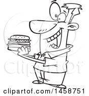 Cartoon Outline Man Eating A Hamburger