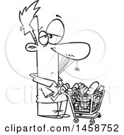 Clipart Of A Cartoon Lineart Man Covered In Spider Webs Waiting A Long Time To Checkout In A Grocery Store Royalty Free Vector Illustration