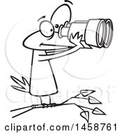 Clipart Of A Cartoon Outline Bird Looking Through Binoculars Birdwatching Royalty Free Vector Illustration