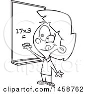Cartoon Lineart School Girl Solving A Multiplication Math Problem