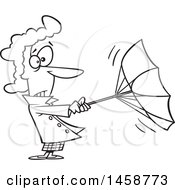 Cartoon Lineart Woman Trying To Hold Onto An Umbrella On A Windy Day