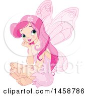 Clipart Of A Pretty Pink Fairy Sitting And Thinking Royalty Free Vector Illustration