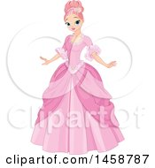 Clipart Of A Pink Haired Princess In A Ball Gown Royalty Free Vector Illustration