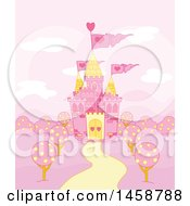 Clipart Of A Pink Fairy Tale Castle Royalty Free Vector Illustration