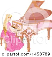Girl With Long Blond Hair Sitting And Playing A Forte Piano