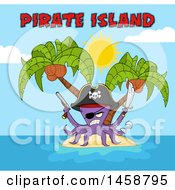 Clipart Of A Tough Purple Pirate Octopus Holding A Sword And Pistol With Text On An Island Royalty Free Vector Illustration by Hit Toon