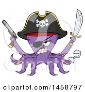 Clipart Of A Tough Purple Pirate Octopus Holding A Sword And Pistol Royalty Free Vector Illustration by Hit Toon