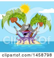 Clipart Of A Tough Purple Pirate Octopus Holding A Sword And Pistol On An Island Royalty Free Vector Illustration by Hit Toon