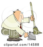 Chubby And Balding Businessman In A Tan Suit Crouching And Using A Broom To Sweep Up Dirt In A Dustpan