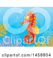 Clipart Of A Seahorse Over A Reef Royalty Free Illustration by Alex Bannykh